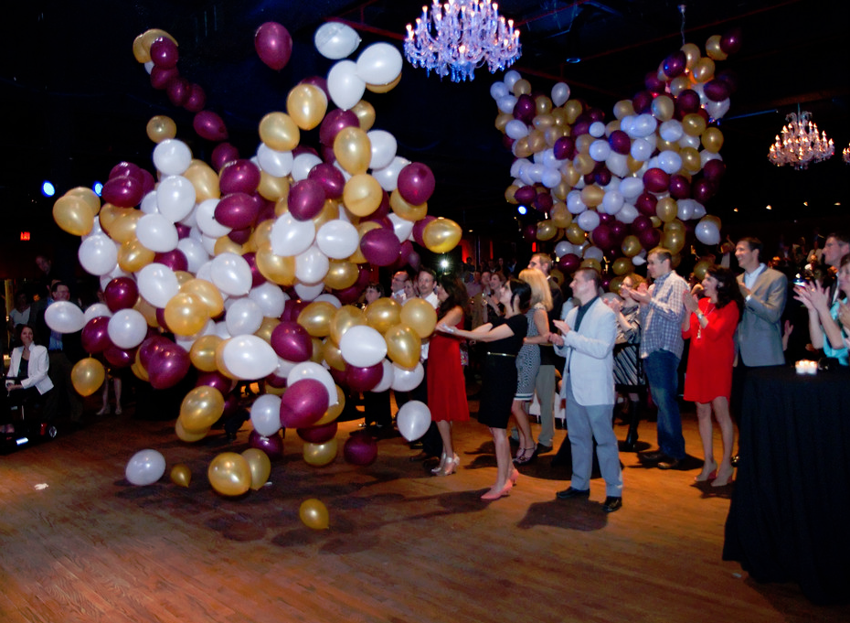 Balloon drop at the Kick-Off Party for Building Bright Futures Campaign