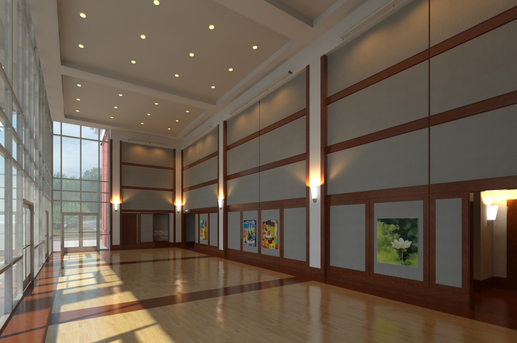 Proposed artist rendering of the Auditorium and Performing Arts Center Interior Gallery