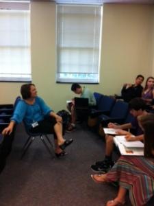 Principal Otey teaches freshman seminar.