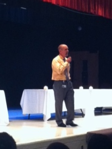 Dr. Moyer addresses the Upper School students about the importance of team work.