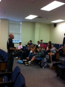 Dean Booker teaching Freshmen Seminar. Go Freshmen.