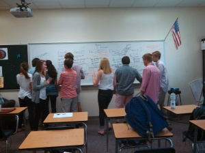 Mr. Taylor's class showing their passion on his white board.