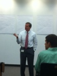 Matt Gossage speaks to students about discipline and morale during Friday's leadership lunch.