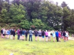 sophomores gather to hike at Brown Mountain
