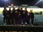 Cheerleaders brave the cold at Friday nights football game against Victory. Great sports!