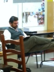 Mr. Dunn in his typical pose , pondering essential questions of life.