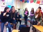 Sophomore advisory skypes with new student from Switzerland who is scheduled to arrive in January.