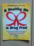 Students pledge to be drug free and display their commitment on their lockers.
