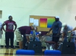 Junior Garland challenges coach to lifting contest!