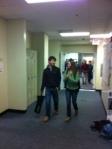 Students converse between classes.