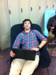 Chad lounges in Senior hallway during drop.