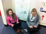 Students work on their mythology Prezi.