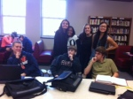 Sophomore posse in the library.