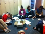 Students spent their free time writing letters to the troops to encourage them for the holidays.