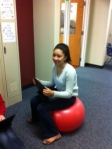Students enjoy  the cool seats offered by Dr. Donah.