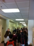 Hallways buzz with student energy.