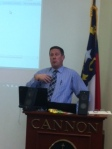 Mr. Campbell discusses Winterm classes with faculty. Get ready.