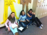 Science students work hard in the hallways of school.