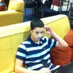 Aaron works diligent at lunch break.