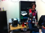Ms. Hine received a Keurig from her advisees for  Christmas . Check out her smile!