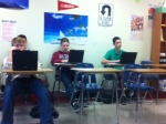 Students works on their final blog.