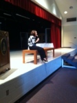 Principal Otey talks to upper school students about the value of integrity.