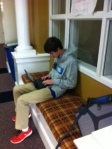 Working hard in the front hallway.