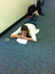 Studying in the comfort of Cannon's hallways.