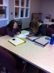 Studying for math in the library.