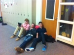 Freshmen relax in the hallways.