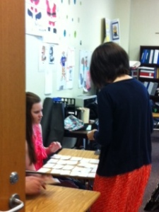 Mrs. Hine works to prepare her math students.