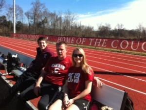 Coaches enjoy Saturday afternoon scrimmage.
