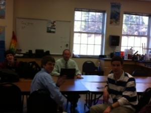 Mr. Coggin's boys enjoy advisory.