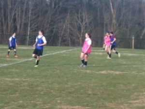 Boys and girls soccer scrimmage.