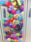 Lockers show Birthday spirit.