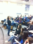 Mrs. Otey Addressed the 8th grade students who joined the upper school for swap day.