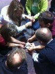 Faculty members  involved in team building activity on Family day.