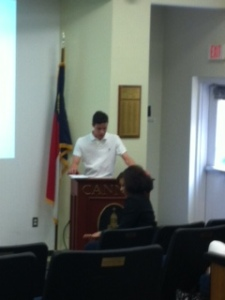 Andrew introduces Mrs. Alexander as the guest leadership speaker.