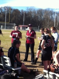Coaches get girls excited for the second half.