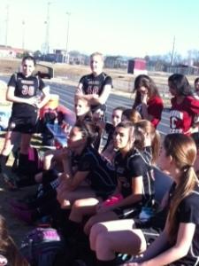 Halftime gathering.