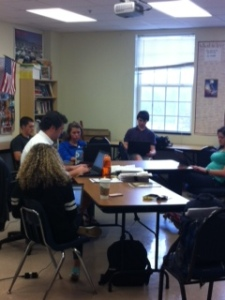 Mr. Dunn's class immersed in their writing.