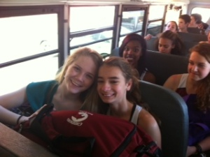 Freshmen enjoy bonding on the bus.