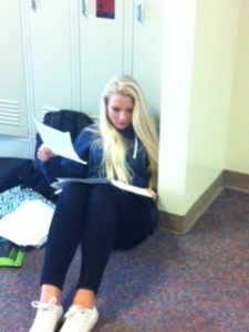 Working hard in Cannon's hallway.
