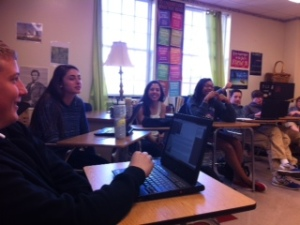 Fun participating in Socratic Seminar on Frankenstein.