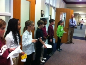 4th graders visit to interview our upper school athletes.