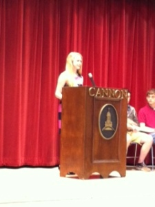 Ms. Mills delivers her honor council speech.