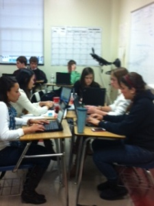 Students work diligently to learn Spanish.