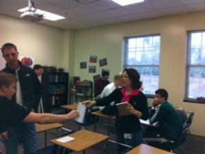 Mrs. Otey joins advisory for a worthwhile activity.
