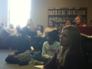 Students listen closely to guest speakers.