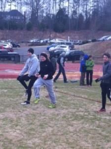 Athletes warm up.